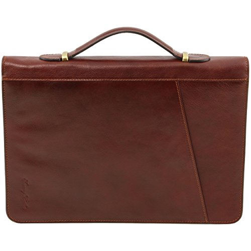 Piel Para De Mujer Mano Cartera Marrón Taille Tuscany Leather Unique wx1II