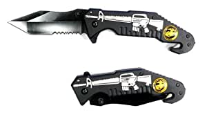 Spring Assisst Pocket Knife with Navy Seal Logo,and M16 image