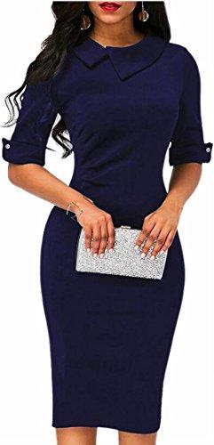 Lapel Fit 1 Women's Dress Jaycargogo Slim Package Stylish Hip Pencil zIwzqS