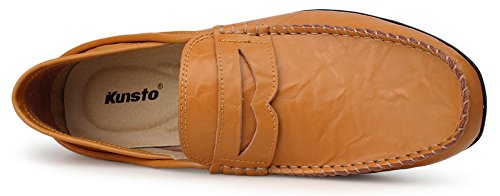 Kunsto Men's Leather Casual slip on loafers Driving shoes