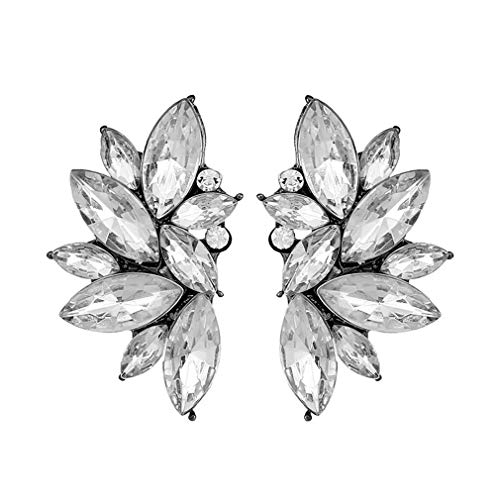 MOONQING Cluster Crystal Teardrop Design Stud Earrings Punk Rock Earrings Neutral Color Earrings Flower Design Earring,White