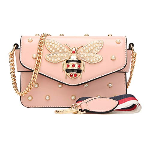 Para Correa Pink Bandolera Wild Dating Wide Bag Ladies El Rivet Chain Pearl Ethba Hombro wBYpx