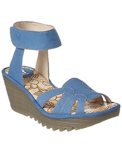 Sandalo Con Zeppa In Pelle Londra Yasa, 38, Blu