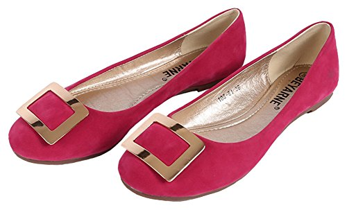Sfnld Womens Sweet Round Toe Low Cut Flats Scarpe Slip On Metal Rosa Rosso