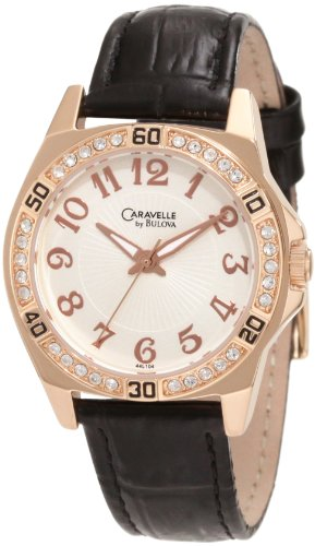 Caravelle by Bulova Women's 44L104 Crystal Leather Strap Watch