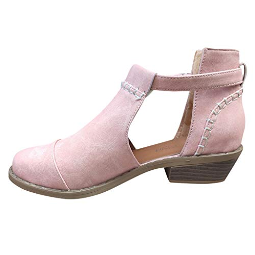 Emimarol Womens Boots Pointed Toe Buckle Strap Low-Heeled Casual Shoes Ankle Boots Pink