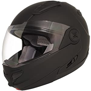 Hawk ST-1198 Transition 2-in-1 Flat Black Modular Helmet with Hawk COM-2 Blueto - Large w/ COM-2 Intercom