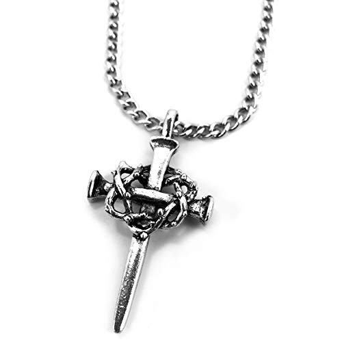 Forgiven Jewelry Nail Cross with Crown of Thorns Necklace On Chain]()