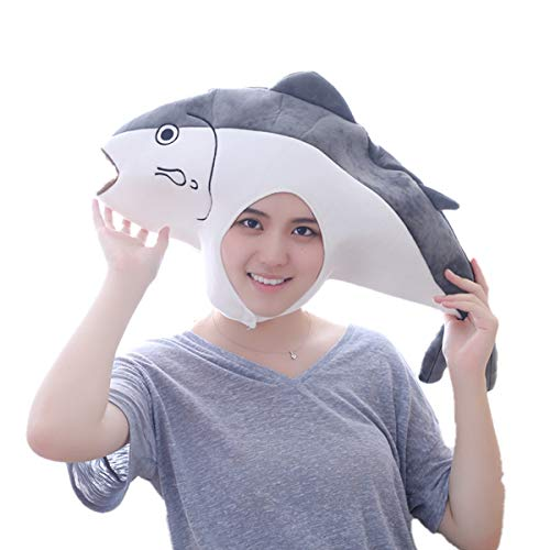 HYYER brined Salted Fish Hat Cap Animal Funny Plush Gift Cosplay Halloween Easter Party -