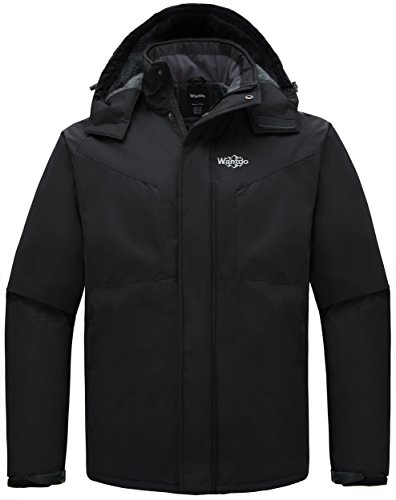 Athletic Winter Parka (Wantdo Men's Detachable Hood Waterproof Fleece Winter Parka Windproof Ski Jacket Black US Small)