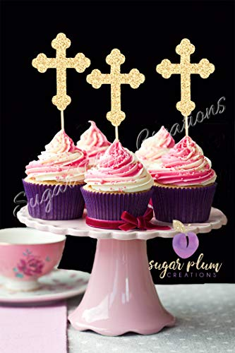 Set of 12 Cross Cupcake Toppers -