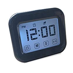 Womdee Timer Digital Alarm Clock, LCD Touchscreen Magnetic Backing Come with Night Light 2 Modes Mute/Ring, Black