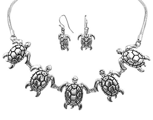 Gypsy Jewels Simple Sealife Nautical Boutique Necklace & Earrings Set (5 Silver Tone Sea Turtles)