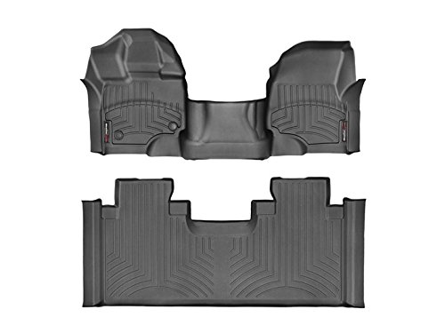 WeatherTech Compatible with 2016 Ford F-150 Floor Liners-Full Set (Includes 1st Row-Over-The-Hump and 2nd Row Uni-Liner) SuperCab (Extended Cab)-1st Row Bench-Black by WeatherTech (Image #4)