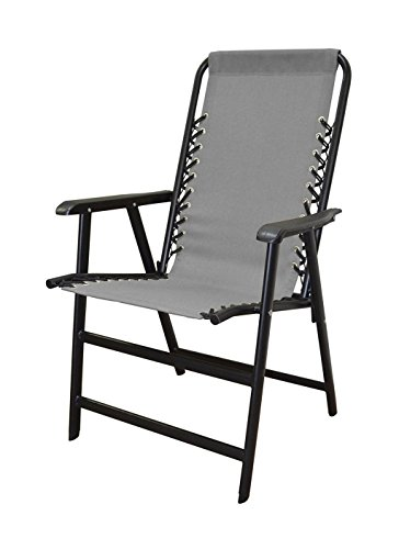 koonlert14 Outdoor Patio Folding Double Bungee System Chair Sturdy Steel Frame Lightweight Comfortable Durable Textaline Fabric Porch Garden Furniture - Gray #1940 (Patio Kohls Outdoor Cushions)