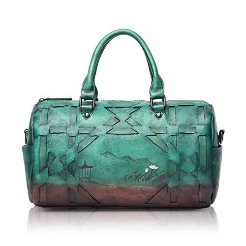 APHISON Designer Soft Leather Totes Handbags for Women, Ladies Satchels Shoulder Bags 8145 (GREEN) - Green Patent Embossed Handbag