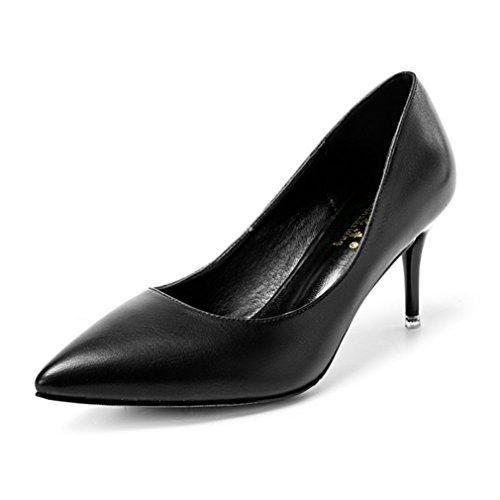 Respirent Chaussures Slip Inconnu OL Élégant Femmes Noir on Pointu Hauts Vernis Talon Escarpin Soiree Miroir Couleur PU Mesdames Métallique Fashion Aiguilles 1wHq67Wx1r
