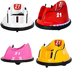 Dasy (Ship from US) Kids Ride On Bumper Car Toy Rechargeable Remote Control 360 Spin Electric Ride On Car Toy with Light, Safety Belt and Anti-Flat Tires for 1.5-8 Years Old (Red)