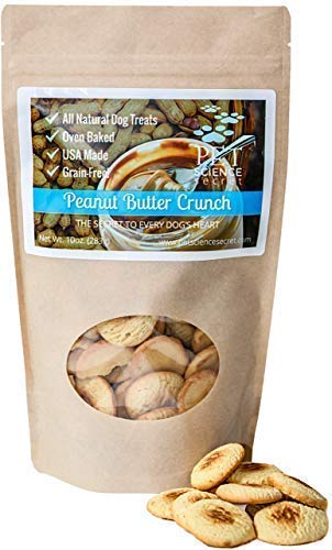Pet Science Secret - Peanut Butter Crunch Dog Treats All Natural Healthy Hypoallergenic, Grain, Gluten & Chemical Free, No Preservatives, Antioxidants, Hand-Crafted by The Batch Made in USA, 10 oz ()