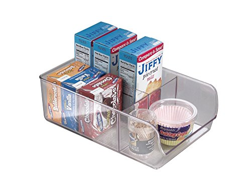 mDesign Refrigerator, Freezer, Pantry Storage Organizer Bins for Kitchen - Divided, Clear
