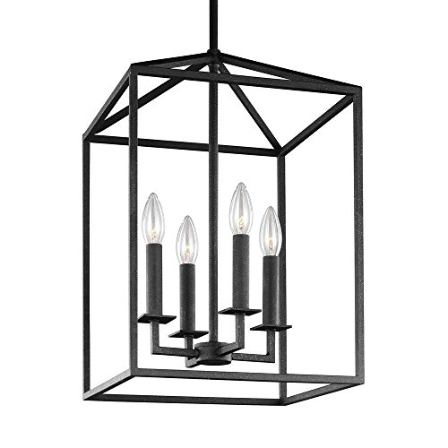 - 12.5-Inch Four-Light Lantern Pendant Lamp Iron Openwork Frame Island Kitchen Foyer Fixture Lamp (Black)