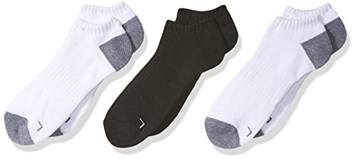 Fruit of the Loom Big Boys' 3 Pack No Show Socks, White/Black, Shoe Size 9-2.5 Medium - Kids 3pk No Show Sock