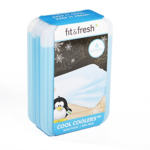 Fit & Fresh XL Cool Coolers Reusable Ice Packs, Long Lasting Ice Packs for Lunch Boxes, Lunch Bags and Coolers, Set of 4, Blue Review