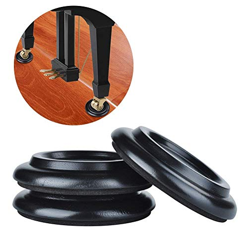 Piano Caster Cups,TOPCHANCES Premium 3 Pcs Grand Piano Caster Pads w/EVA Anti-Slip & Anti-Noise Foam Mat, Solid Wood Coasters Cups Piano Leg Pad for Tripod Grand Piano (PA-19 Black)
