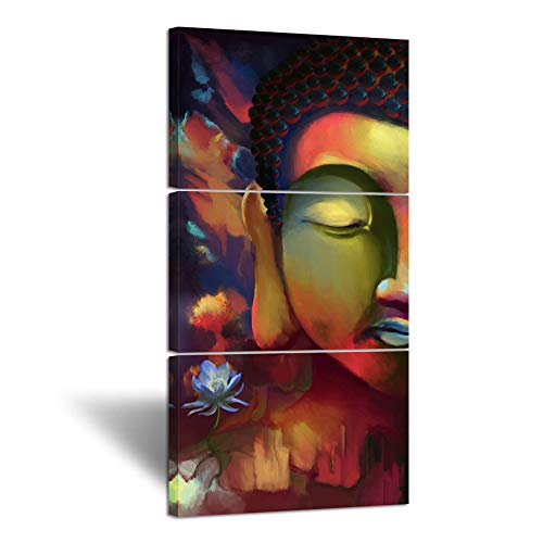 (Hello Artwork Buddha Head Portrait Painting Peaceful Sincere Religion Triptych Zen Flower Picture Poster Stretched Ready to)