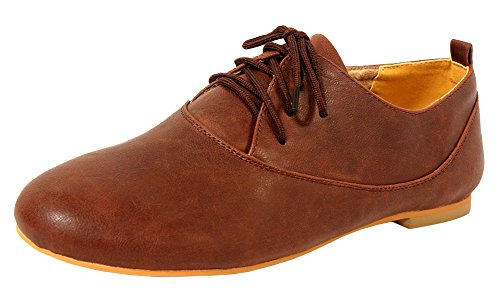 Donna Speziata F701 Lace-up Punta Chiusa Brogue Oxford Wingtip Flat Cognac