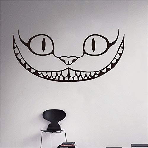 Wall Sticker Quote Wall Decal Funny Wallpaper Removable Vinyl Smiling Cheshire Cat Decal Alice in Wonderland Cartoons Home Interior Children Kids Room Decor