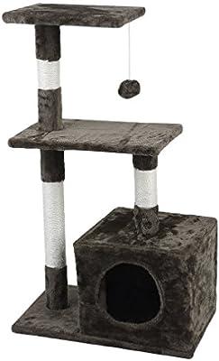 Feketten rascador Gato árbol, 85 cm Cat Tree rascador para Gatos con caseta para Perro, Color Marrón