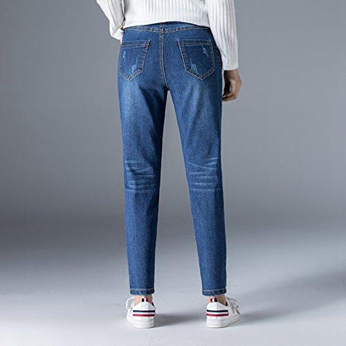 Pantalones Mujeres Vaqueros LINNUO Ajustados Pantalones Jeans Harén Alta Azul Pantalón Pantalones Casuales Cintura Lápiz Z5pdwgdqa