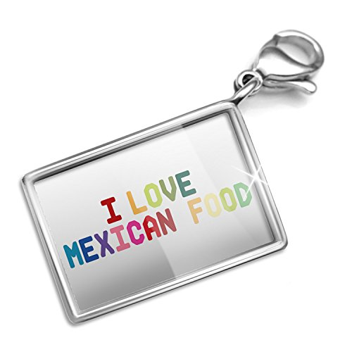 Mexican Set Bracelet - Clip on Charm & Bracelet Set I Love Mexican Food,Colorful Lobster Clasp