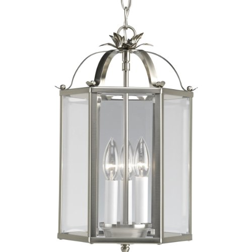 (Progress Lighting P3645-09 6-Sided Foyer Fixture with Clear Flat Glass and Chain and Ceiling Mountings Both Included, Brushed Nickel)