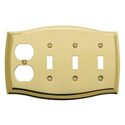 Baldwin 4783.030.CD Colonial Design Duplex with Triple Toggle Combo Switch Plate, Polished Brass - Lacquered