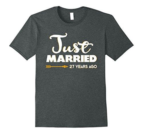 Mens Wedding Anniversary Gift Just Married 27 Years Ago T-Shirt XL Dark Heather