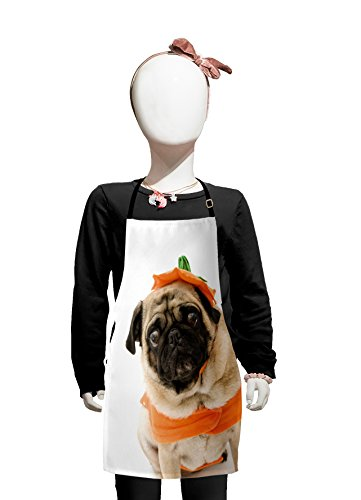 Lunarable Pumpkin Kids Apron, Pug with a Pumpkin Costume for Halloween Trick or Treat Cute Animals Photo, Boys Girls Apron Bib with Adjustable Ties for Cooking Baking and Painting, Ivory Orange Black -