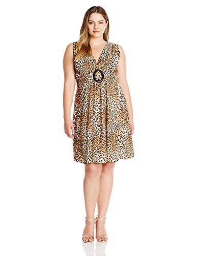 Star Vixen Women's Plus-Size Sleeveless O-Ring Dress, Leopard - Womens Plus O-ring