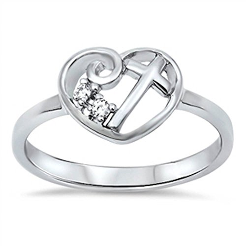 - Oxford Diamond Co Heart Cubic Zirconia Cross .925 Sterling Silver Ring Size 6