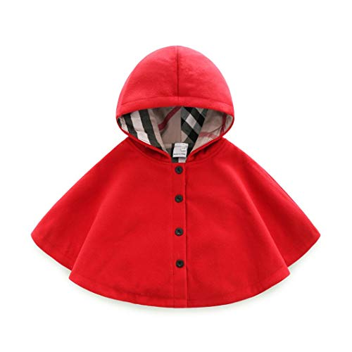 Baby and Toddler Boys Girls Wool Blend Winter Hooded Outerwear Capes Poncho Coat (Red, 12-18M(Size:90))