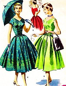 McCalls 3528 Misses' Fitted Bodice, One-Piece Dress Rockabilly Sewing Pattern, Wedding PartyVintage 1955 ()