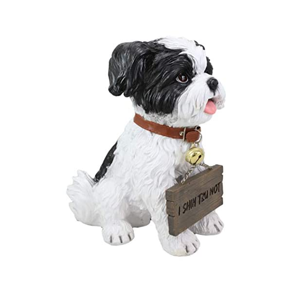"""Ebros Adorable Lifelike Panting Shih Tzu Toy Dog Breed Statue With Jingle Collar Welcome Greeting Sign 11.25""""Tall Realistic Shih Tzus Puppy Home And Garden Decor Figurine Animal Pet Memorial Sculpture 4"""