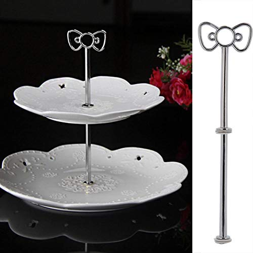 - ZZH 2-Tier Dessert Stand Pastry Stand Cake Stand Cupcake Stand Holder Serving Platter with Rosette Decoration,Silver