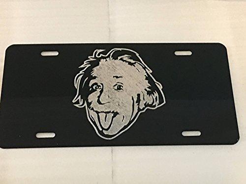 Diamond Etched Albert Einstein Car Tag on Black Aluminum License Plate ()