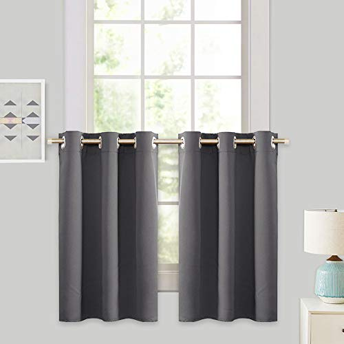 Grey Blackout Valances Curtain Panels - RYB HOME Thermal Insulated Curtains Tier Short Blind for Kitchen / Living Room Energy Efficient Including 6 Grommets, W 42