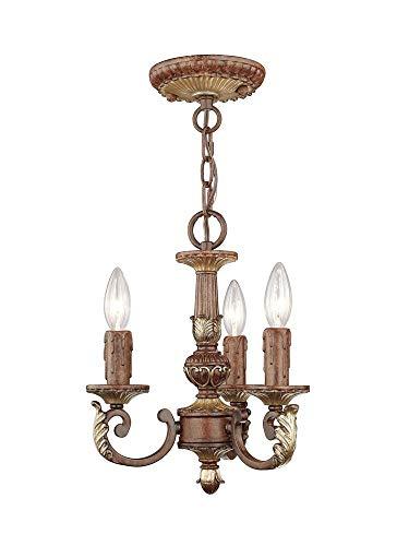 Livex Lighting 8583-63 Villa Verona - Three Light Mini-Chandelier, Verona Bronze/Aged Gold Leaf Accent Finish (Accent Mini Gold Chandelier)