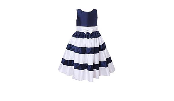 4c362e5b659 Amazon.com  princhar Ivory Navy Stripe Flower Girl Dress Little Girl  Toddler Formal Dress  Clothing