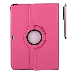 ZCL 360 Rotatable Leather Lichee Pattern Case and Pen with Stand for Samsung Tab 4 10.1 T530(Assorted Colors) , Rose