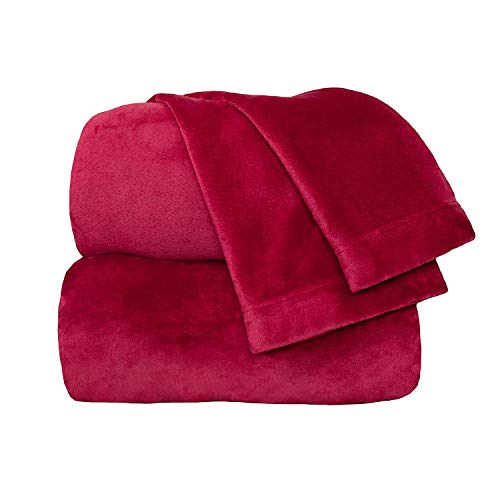 Cozy Fleece Comfort Collection Velvet Plush Sheet Set, Full, Scarlet, 1 Sheet Set (Collection Red Velvet)